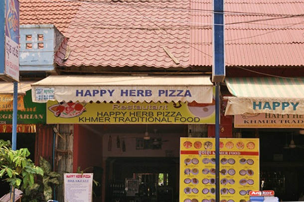 Pizza places along Pub Street in Siem Reap serving some pretty special pizzas