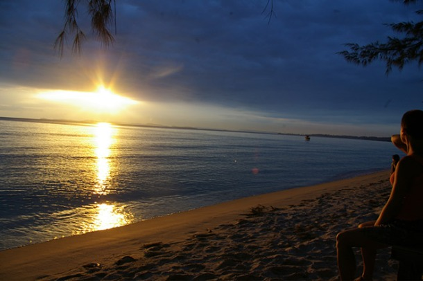 Stunning sunset at Otres Beach, Cambodia